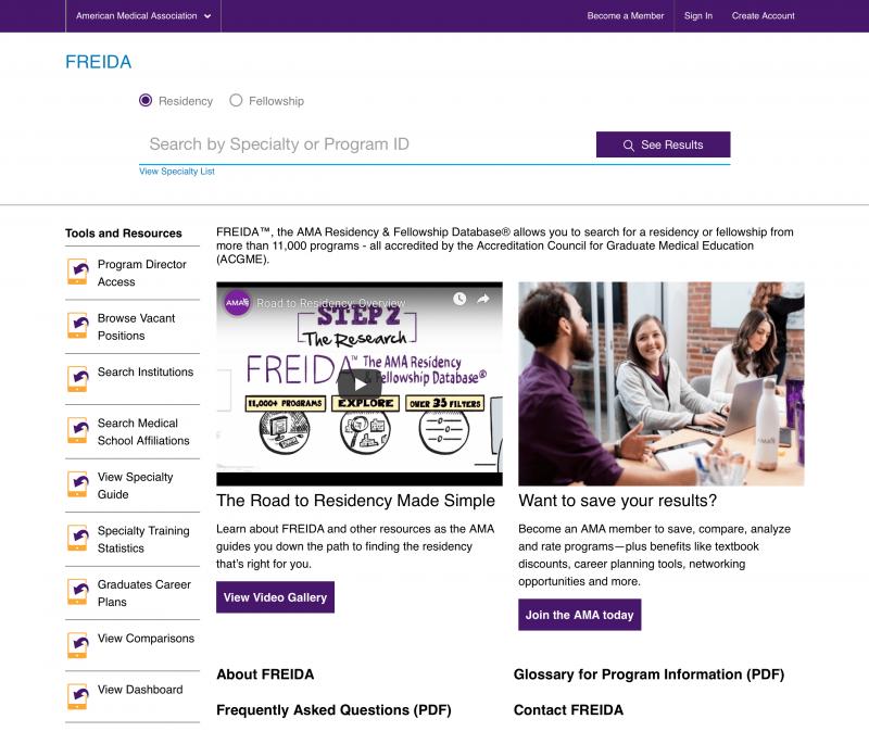 FREIDA Homepage